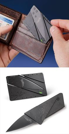 Lightweight and ultra thin, the Cardsharp folding knife featured a top quality blade in the size and shape of a credit card. It is not actually a credit card. Cool Knives, Knives And Swords, Survival Knife, Survival Gear, Life Hacks Diy, Lampe Retro, Things To Buy, Stuff To Buy, Fun Things