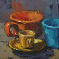 """Fiestaware Colors"" - Original Fine Art for Sale - © Cathleen Rehfeld"