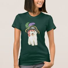 Samoyed Pirate T-Shirt   pug lover gifts, gifts for pet owners, pug in an ugg #mypeoplearebetterthenyourpeople #gimmieallthepugglestuffs #pugpillow Pug Pillow, Funny Bulldog, Pirate Hats, Jolly Roger, Samoyed, Gifts For Pet Lovers, Pugs, Pirates, T Shirts For Women