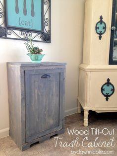 Wood Tilt-Out Trash Can Cabinet