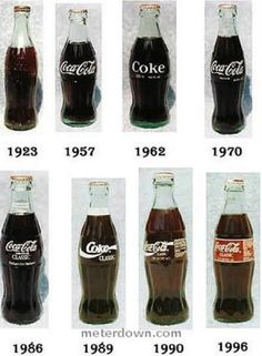 A Coca-Cola Coke bottles throughout the years Vintage Coca Cola, Coca Cola Ad, Always Coca Cola, Coca Cola Bottles, Soda Bottles, Antique Glass Bottles, Vintage Bottles, Cocoa Cola, Etiquette Vintage