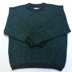 Mens XL Tall LL Bean Birdseye Wool Sweater Charcoal Gray Teal