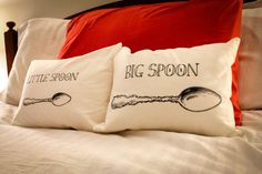 Big Spoon & Little Spoon Accent Pillows by LiefdeLiebeLove on Etsy, $60.00