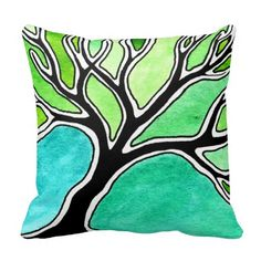 Winter Tree in Green Tones Throw Pillow - Just sold two of these.  How cool are they? :)