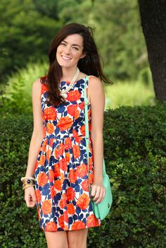 Orange Navy Floral Turquoise Outfit Classy Girls Wear Pearl / Sarah Vickers