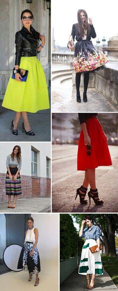 Cute midi full skirt outfits