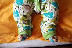 Cuteness! Cute dino onesie for baby boys with Ottobre pattern and Little Smilemakers fabric design. Made by Elchimila