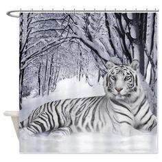 Winter Siberian Tiger Shower Curtain