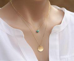 Long Layered hammered karma disc birthstone 14k Gold necklace,birthstone necklace,Hammered disc necklace, Gold Large round tag