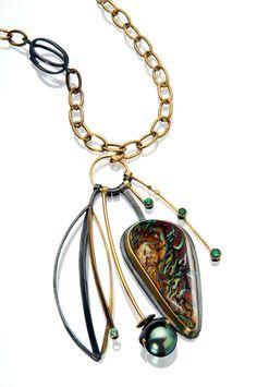 Koroit Opal & Emerald Cluster necklace, 18k and 22k gold, oxidized sterling by Sydney Lynch. Lovely!!