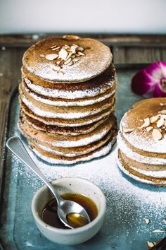 rum buckwheat pancakes with vanilla maple syrup (dairy-free)