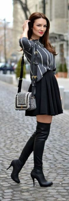Black leather over-the-knee boots love