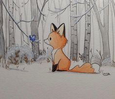 Un pequeño zorro. Un pequeño zorro. Un pequeño zorro. Un pequeño zorro. Cute Fox Drawing, Cute Animal Drawings, Fuchs Illustration, Posca Art, Fox Art, Easy Drawings, Painting & Drawing, Drawing Tips, Fox Painting