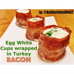 Egg White Cups Wrapped In Turkey Bacon | Just 60 calories a serving for your bacon fix! @Velvet Darnell Recipes
