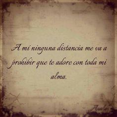 A mi ninguna distancia me va a prohibir que te adore con toda el alma.