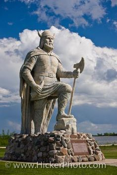 Viking Statue in the  town of Gimli, Manitoba in Canada