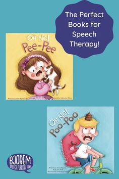 """Oh No! Pee-Pee"" and ""Oh No! Poo-Poo"" by Jennie Bjorem are the perect books for speech therapy. Filled with functional consonant-vowel consonant-vowel words, this well-thought-out book is written by a speech-language pathologist with the acquisition of speech and language in mind. Your child will giggle while predicting what crazy spot the pee-pee and poo-poo will be in next! Great for toilet-training as in the end, the puppy uses the potty! #bjoremspeech #booksforspeech #pottytrainingbooks Potty Training Books, Toilet Training, Speech Delay, Apraxia, Phonological Awareness, Speech Therapy Activities, Early Literacy, Speech And Language, Book Recommendations"