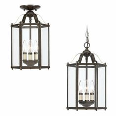 "Sea Gull Lighting 9-3/8"" Heirloom Bronze Clear Glass Semi-Flush Mount Light  .... thinking about a pair of these for our entry way and hall.  They kind of have a lanterny look to them & I've always loved lanterns!"