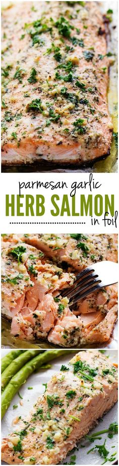 Baked Parmesan Garlic Herb Salmon in foil. Salmon that is baked in foil and brushed in a Parmesan Garlic Herb Marinade. It seals in the amazing flavor and cooks the salmon to tender and flaky perfection! Healthy Salmon Recipes, Fish Recipes, Seafood Recipes, Dinner Recipes, Cooking Recipes, Recipies, Lunch Recipes, Salmon In Foil Recipes, Grilled Salmon Recipes