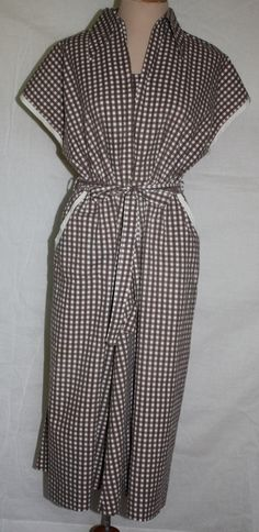 Vintage Dress 1940's Brown and White Checked by ilovevintagestuff