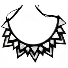 """Add a little tough luxe edge to your day with the Fitzgerald necklace. The necklace boasts trillion """"diamonds"""" etched on gold acrylic mirror which are then studded onto a multi-layered spiked black Perspex collar. Ribbon Necklace, Layer Necklace, Green Necklace, Handmade Jewelry, Unique Jewelry, Diy Jewelry, Jewelry Box, Gold Jewelry, Bijoux"""