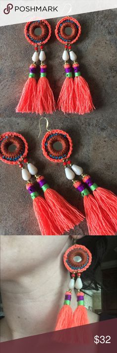 """Bright Crochet Tassel Statement Earrings Want to make a statement with a pop of color? These are for you, they are absolutely gorgeous crocheted, 5"""" long with gold plated ear wire! Jewelry Earrings"""