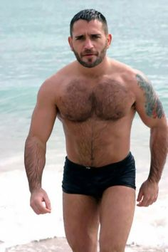 Square Cut Trunk Style Speedo is hot on this beefy, hairy slab of Muskle!