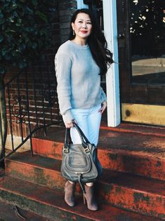 Winter Outift - Grommet sweater and white jeans