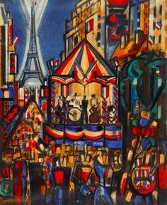 Gromaire - LE KIOSQUE A MUSIQUE, PARIS, LE 14 JUILLET (1956)