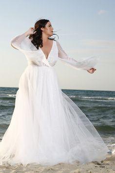 Plus size super sparkly but plain bohemian wedding gown. Trish. Studio Levana