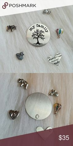 """6 Origami Owl Charm Plate Set Authentic Origami Owl brand. Living locket jewelery accessories. Set includes 4 charms- 1 Elephant 1 Bike 1 Hot Air Balloon  1 """"Family"""" Heart  2 Plates 1 """"My Family"""" 1 Mom/Mother  Brand new! Never used. Origami Owl Jewelry Necklaces"""