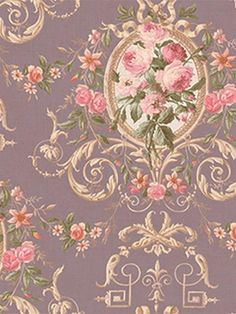 Bouquets with Scroll Design Wallpaper by Seabrook Wallpaper Watercolor Floral Wallpaper, Flowery Wallpaper, Chic Wallpaper, Rose Wallpaper, Print Wallpaper, Vintage Diy, Shabby Vintage, Vintage Ideas, Vintage Cards