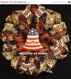 ON+SALE+Patriotic+RWB+Wreaths+Memorial+or+Labor+by+wreathsbyrobin