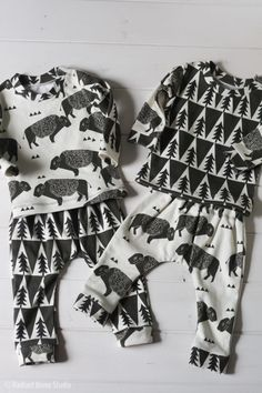 a2e5cbe3a191 Cute buffalo baby clothes for twin boys! Pants made with Rae s Newborn  Pants pattern and fabric is organic cotton knit by Andrea Lauren at  Spoonflower.