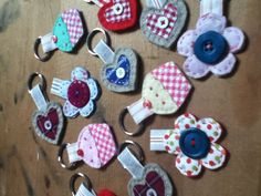 Selection of handmade keyrings made by Louise Allen