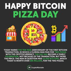 """On May 22, 2010, now known as Bitcoin Pizza Day, Laszlo Hanyecz agreed to pay 10,000 Bitcoins for two delivered Papa John's pizzas. Organized on bitcointalk forum, the Florida man reached out for help. """"I'll pay 10,000 bitcoins for a couple of pizzas.. like maybe 2 large ones so I have some left over for the next day,"""" Hanyecz wrote. Euro, Ten Year Anniversary, Pizza Day, Bitcoin Transaction, Blockchain, Cryptocurrency, The Man, How To Become, Writing"""