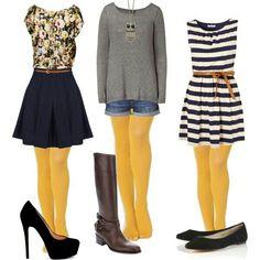 Mustard tights ..cute