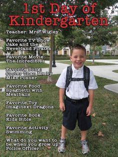 Ist Day of Kindergarten Photo Idea! Love this!