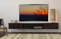 Floating shelf entertainment center diy floating entertainment console the curve 3 piece espresso diy floating shelf Floating Tv Stand, Floating Shelves Diy, Floating Wall, Floating Media Console, Floating Fireplace, Floating Shelves Entertainment Center, Entertainment Room, Entertainment Centres, Wall Mount Tv Stand