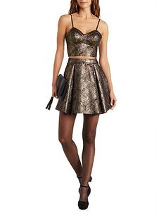 Strappy Metallic Bustier with Zipper: Charlotte Russe