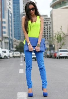 Neon Yellow Shirt+Cornflower Blue Skinny Jeans