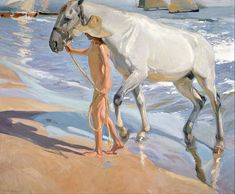 The Horse's Bath 1909 By Joaquin Sorolla - Oil Paintings & Art Reproductions - Reproduction Gallery 694961786232732418 Art Espagnole, Spanish Art, Oil Painting Reproductions, Traditional Art, Painting Inspiration, Painting & Drawing, Art History, Modern Art, Horses