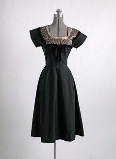1950s Bullock's silk faille and lace dress (repair) hemlockvintage.com
