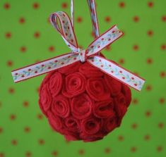 diy felt flowers decored rose ball with bowknot of flower pattern - hanging decoration