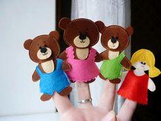 Goldilocks and the Three Bears  finger puppets Animal finger