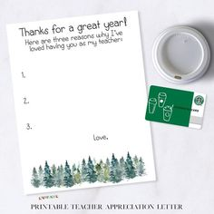 Printable Teacher Appreciation Letter, Thank You Gift for Teacher Appreciation Week, Gift for Male Teacher, Printable Thank You Note, Spruce Thanks for a great year! Instantly download and print this beautiful Teacher Appreciation Letter to give to your favorite teacher(s) for Teacher Appreciation