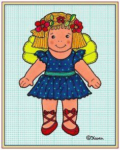 Karens Kravlenisser. Cut-outs and Colouring Pages. : Doll and Bear Postcards in Colours. Dukke og bamse postkort i farver.