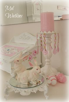 Vintage Lefton Bunnies - shabby chic pink Easter <3