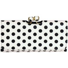 Wilsons Leather Brianne Dottie FauxLeather Clutch (20 AUD) ❤ liked on Polyvore featuring bags, handbags, clutches, synthetic leather handbag, polka dot purse, faux leather handbags, wilsons leather and polka dot handbag