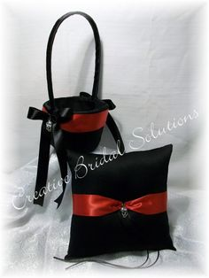 Black and Red Gothic Wedding Ring Pillow and by CreativeBridal, $70.00